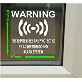 6 x Premises Protected-Monitored Alarm System Stickers for Windows - 24hr Security Warning Signs for House, Flat, Business, Property-Self Adhesive Vinyl Sign