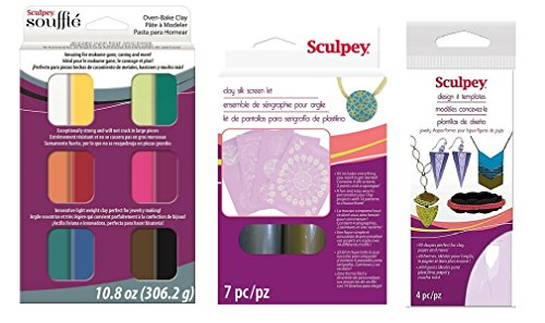 Sculpey Souffle Jewelry Making Kit 3-Piece Bundle with Printable Polymer Clay How-to Tips (Sculpey Oven Bake Clay Kit compare prices)