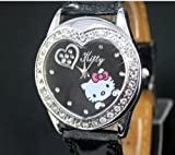 U-beauty Black Hello Kitty Fashion Lady Wrist Watch Heart Shaped Watches