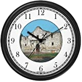 Alamo - Famous Landmark Wall Clock by WatchBuddy Timepieces (White Frame)