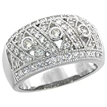 buy Sterling Silver Vintage Style Cubic Zirconia Crisscross Domed Cigar Band Ring 7/16 Inch Wide, Size 7