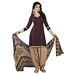 Aagaman Fashion Polyester Unstitched Salwar Suit (TSLCSK5040_Brown)