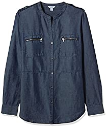 Nautica Women's Body Blouse Shirt (NT539W1179QY_Explorer Indigo Wash_L)