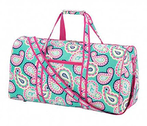 21-in-Print-Duffle-Overnight-Carry-On-Bag-with-Outside-Pocket-and-Shoulder-Strap-Aqua-and-Pink-Paisley