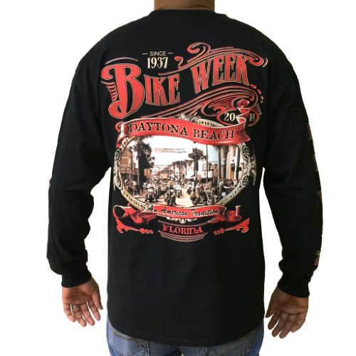 Biker Life USA Men's Bike Week 2014 Main Street Long Sleeve Shirt, S, Black