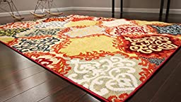 Feraghan/Radiance Collection hil1053Red_6x8 Art Pattern Contemporary Collection Modern Wool Area Rug, 5\' x 8\', Red/Silver/Orange/Yellow/Black
