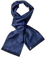 MAILANDO Men's Cashmere and Silk Scarf,very luxury and fine pattern, blue (dark blue) - white