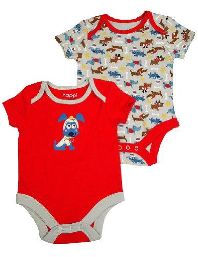 Happi By Dena - Baby Boys 2 Piece Short Sleeve Bodysuit Set, Red, Grey 34824-3-6Months