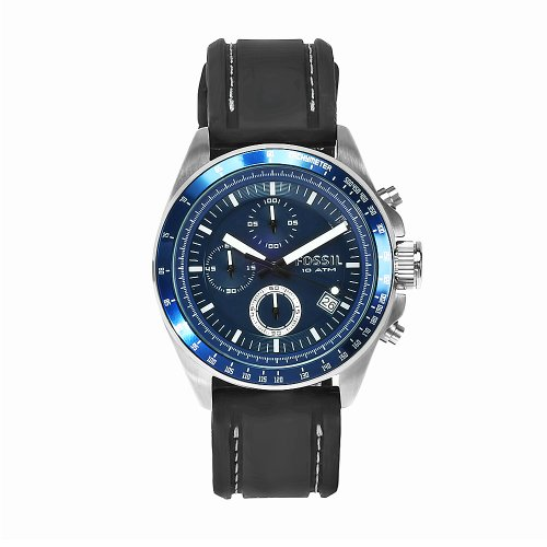 Fossil Men's Blue/Black Chronograph Watch CH2691 From The Decker Range With Silicone Strap