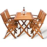 Wooden Garden Dining Table Chairs Set Made of Tropical Acacia Hardwood (1xTable+4xChairs)