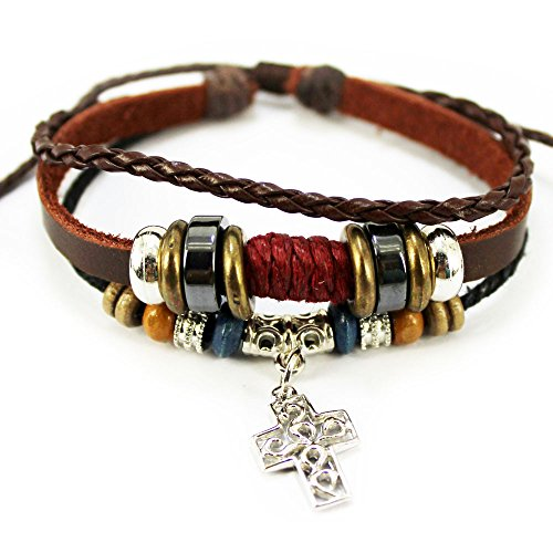Wild Wind Hollowed Crucifix Cross Pendant Braided Multi Strand Vintage Hooped Leather Wood Bead Wrist Wrap Bracelet
