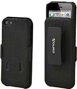 Aduro Shell Holster Combo Case for Apple iPhone 5 with Kick-Stand & Belt Clip (At&t, Verizon, T-Mobile & Sprint)