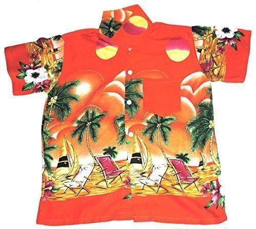 Happy Hawaiian Hut - Kinder Hemd Hawaii Liegestühle Motiv Mädchen Jungen - Orange, L 7-8 Jahre / 122-128
