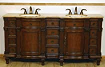 "Hot Sale 72"" Bathroom Furniture Travertine Top Double Sink Vanity Cabinet 722T"