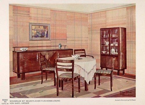 1932 Art Deco Dining Room Table Buffet Wallpaper Print - ORIGINAL - Original Color Print