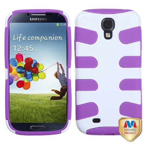 Fits Samsung I337 I9500 Galaxy S 4 Hard Plastic Snap On Cover Ivory White/Electric Purple Fishbone At&T