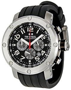 TW Steel TW120 - Reloj cronógrafo de cuarzo unisex con correa de caucho, color negro