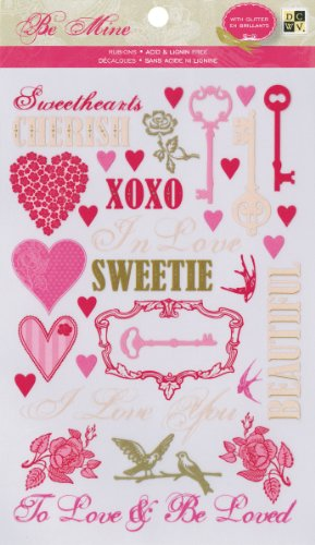 Die Cuts With A View Be Mine Rub On Glitter Stickers front-73395