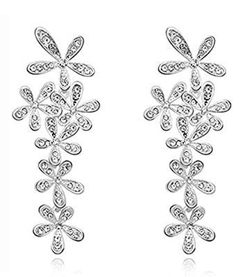 Celebrity Jewelry Gold Plated Shining Rhinestone Leaf Chandelier Drop Earrings for Women Gifts