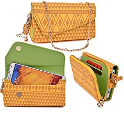 Women\'s Wristlet Clutch Fly IQ458 Evo Tech 2 with Credit Card Holder & Removable Crossbody Chain| Tribal Aztec Mayan Pattern| Selective Yellow UC Gold Lime Crime + ND Cable Tie