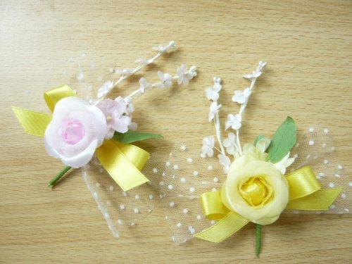花飾り・造花◆卒業式・卒園式・入学式・入園式♪幸せの黄色いリボンのコサージュキット ピンク