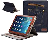 SUPCASE Jeans Series for New Apple iPad Air Slim Fit Folio Case (Blue) - Multi-angle Stand, Support Auto Sleep/Wake (Smart Cover Function), Compatible with iPad 5 (5th Generation)
