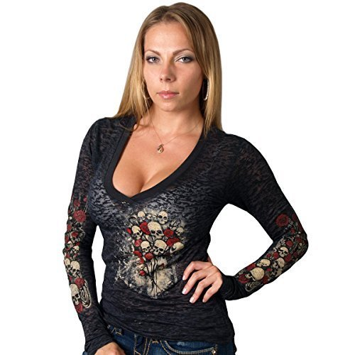 Hot Leathers Skull Bouquet Ladies Burnout Long Sleeve Tee (Black, Medium) by Hot Leathers