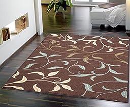 Ottomanson Ottohome Collection Contemporary Leaves Design Area Rug with Non-Skid (Non-Slip) Rubber Backing, 3\'3\