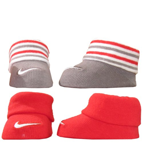 Nike Unisex 0-6 Months 2-Pair Newborn Infant Booties (Red)