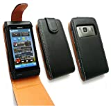 FLASH SUPERSTORE NOKIA N8 LUXURY PU LEATHER FLIP CASE COVER BLACK / TAN AND LCD SCREEN PROTECTOR