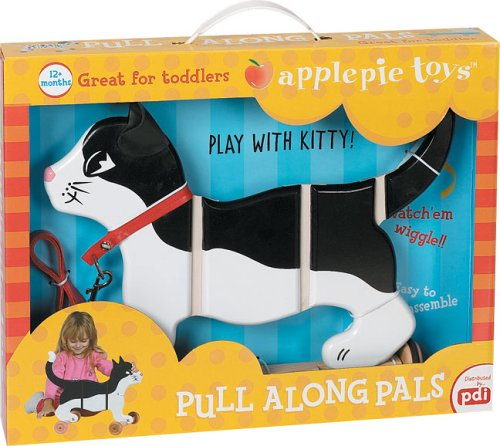 Black and White Kitty the Cat Pull Along Pal Toy - 1