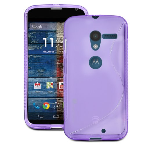 Buy  GreatShield Guardian S Series Slim Fit Wave Design TPU Case for Motorola Moto X Phone (Purple)