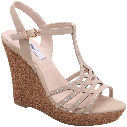 Wildrose Cinema01 Women'S T-Strap Wedge Sandals With Rhinestones On The Vamp, Color:Beige, Size:9 front-39264