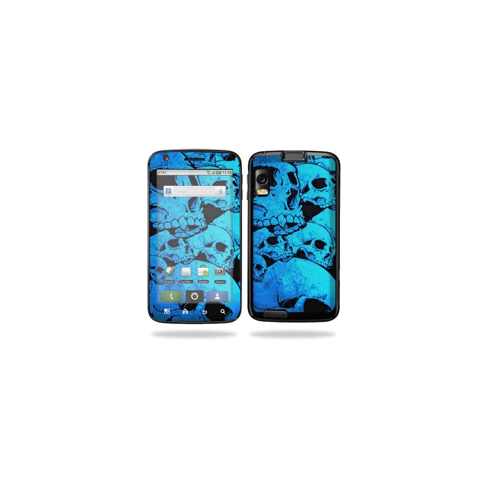 Protective Vinyl Skin Decal Cover for Motorola Atrix 4G Cell Phone Sticker Skins   Blue Skulls