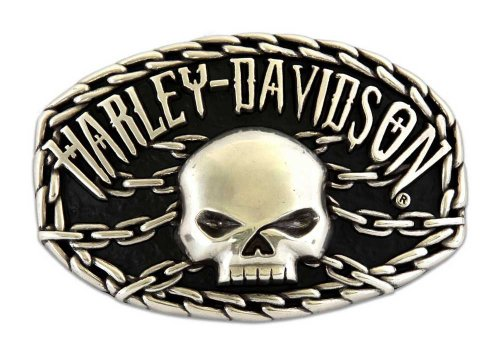 Harley-Davidson Mens Skull Chain Chrome Buckle by LODIS