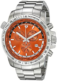 buy Swiss Legend Men'S 10013-66 World Timer Chronograph Orange Dial Stainless Steel Watch