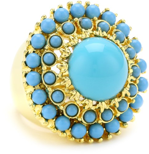 Kenneth Jay Lane Gold, Cabochons and Turquoise Center Round Adjustable Ring