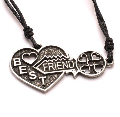 Vietsbay Jewelry Best Friends Set Yin Yang Pewter Necklace Pendant Heart Key Love