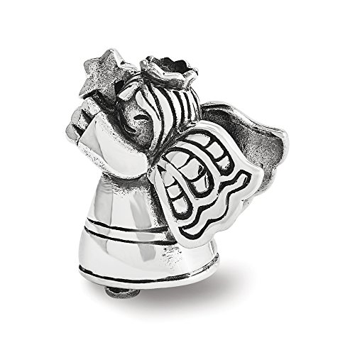 Christmas Angel Charm in Antiqued Sterling Silver