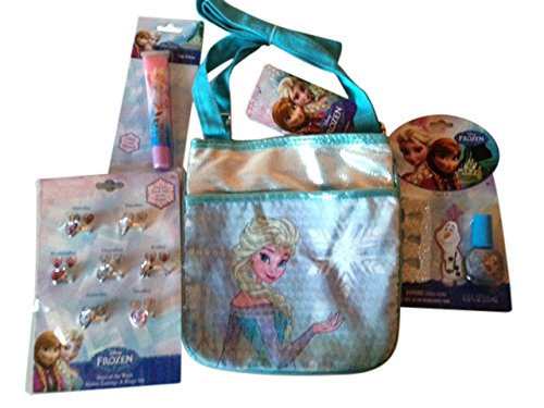 Disney Princess Frozen Elsa Gift Set for Girls with purse, nail polish kit, rings, lip gloss (Nail Polish Handbag compare prices)