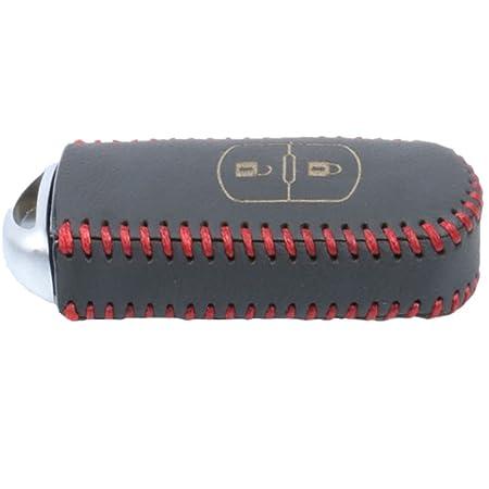 Genuine Leather Car Remote Key Holder Case Cover for Mazda 2 3 6 CX-5 CX-7 Red