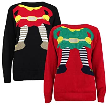 Oromiss mens womens unisex xmas knitted funny elf body headless