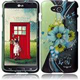 Premium Vivid Design Snap-on Protector Hard Cover Case For LG OPTIMUS L90 (D415) (US Carrier: T-Mobile) + Travel (Wall) Charger + 3.5MM Stereo Earphones + 1 of New Assorted Color Metal Stylus Touch Screen Pen (Sublime Flower White Drop)
