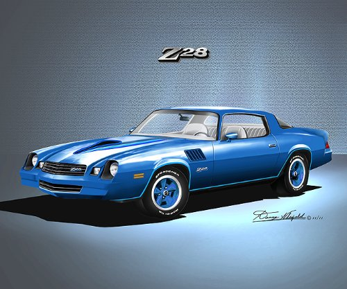 1978-1979 CAMARO Z28 LIGHT BLUE - ART PRINT POSTER BY ARTIST DANNY WHITFIELD- size 20 X 24 (1978 Camaro Posters compare prices)