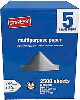 Staples Multipurpose Inkjet & Laser Printer Paper, Copy & Fax, 8.5 x 11 inch, Letter Size, 96 Bright White, 20 lb. Density, 2500 Sheets 5-Ream Case (1147484)
