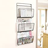 Three Compartment Wall Mounted Mail And Magazine Rack Wall Store Holder H72 x W29 x D8.5cm
