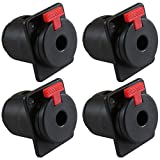 "GLS Audio 1/4"" Jacks TS and TRS Panel Mount Jack Locking Style D Series Size - 4 Pack"
