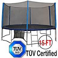 TÜV Approved Zupapa® 12 14 15 Ft Trampoline with Net Enclosure net + Safety Pad + Ladder + Mat…