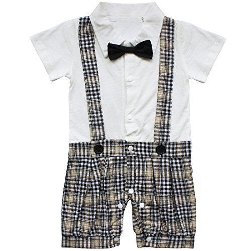 fa4a6a890 TIAOBU US Baby Boys Plaid Bowtie Gentleman Romper Jumpsuit - Import It All