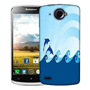 Snoogg sea wave and dolphin on blue background Designer Protective Back Case Cover For Lenovo S920